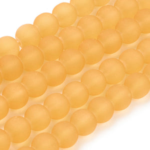 130+ Transparent Frosted Glass Beads, Yellow,  6mm Round