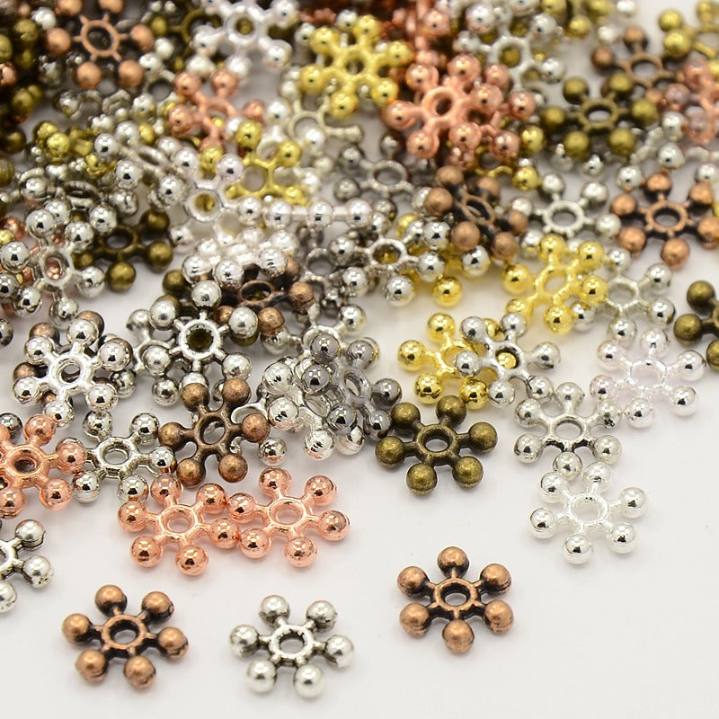 Pack of 40 Mixed Tibetan Style Snowflake Spacer Beads - 8.5mm