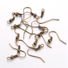 Load image into Gallery viewer, 120+ Antique Bronze Plated Brass Earring Wire Shepherd Fish Hooks 18mm
