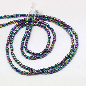 Grade A Rainbow Hematite (Non Magnetic) 4mm Faceted Beads