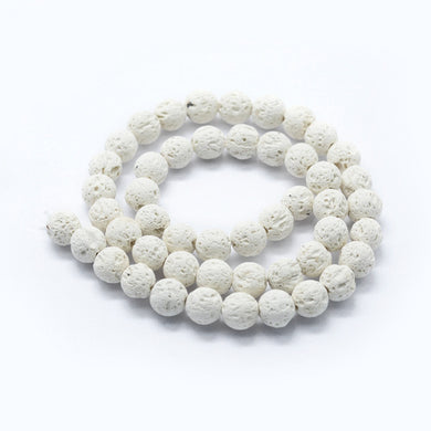Natural White Lava Beads Loose Beads Round 6mm
