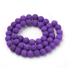 Load image into Gallery viewer, Natural Purple  Lava Beads Loose Beads Round 6mm