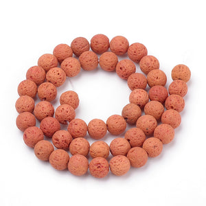 Natural Coral Lava Beads Loose Beads Round 6mm