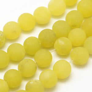 Natural Frosted Lemon Jade 8mm Gemstone Loose Beads Round