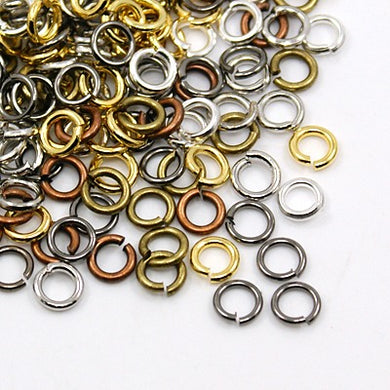 Packet of 300+ Mixed Colour Plated Iron 8 x 1mm Jump Rings
