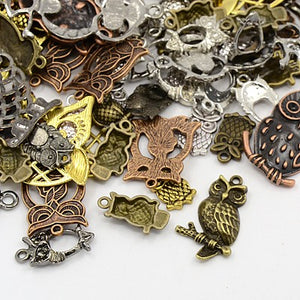 30g x Tibetan Silver Mixed Beads Charms Pendants - Mixed Colour OWLS