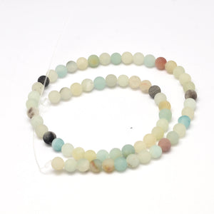 Strand Of 62+ Multicolour Amazonite 6mm Frosted Round Beads