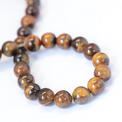 64pcs Natural Gemstone Tiger Eye Stone Beads Round Loose Beads for DIY Jewelry Making Findings 6 mm
