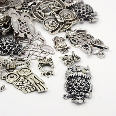 30g x Tibetan Mixed Antique Silver Beads Charms Pendants - Antique Silver Colour OWLS
