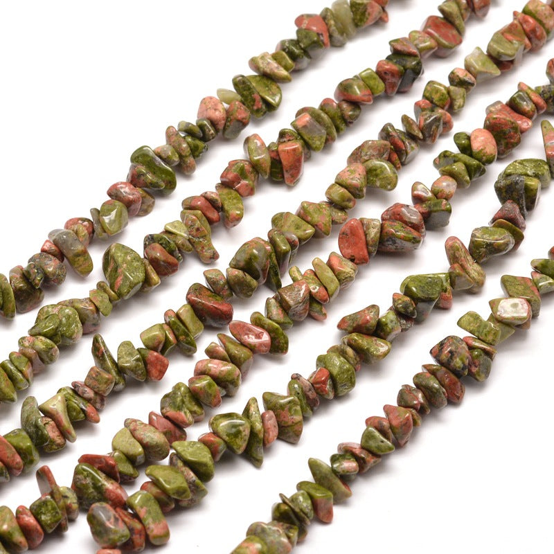 Long Strand Of 240+ Natural Unakite 5-8mm Chip Beads