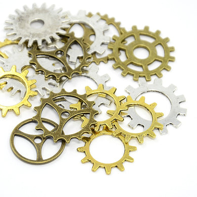 Pack 30 Grams Mixed Colour Steampunk Gear Cog Shapes & Sizes Charms (COG)