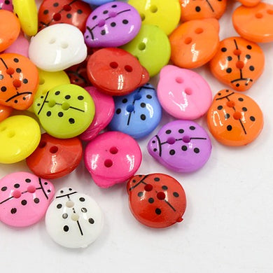 50 x Mixed Acrylic 13mm Ladybird Buttons (2 Hole)