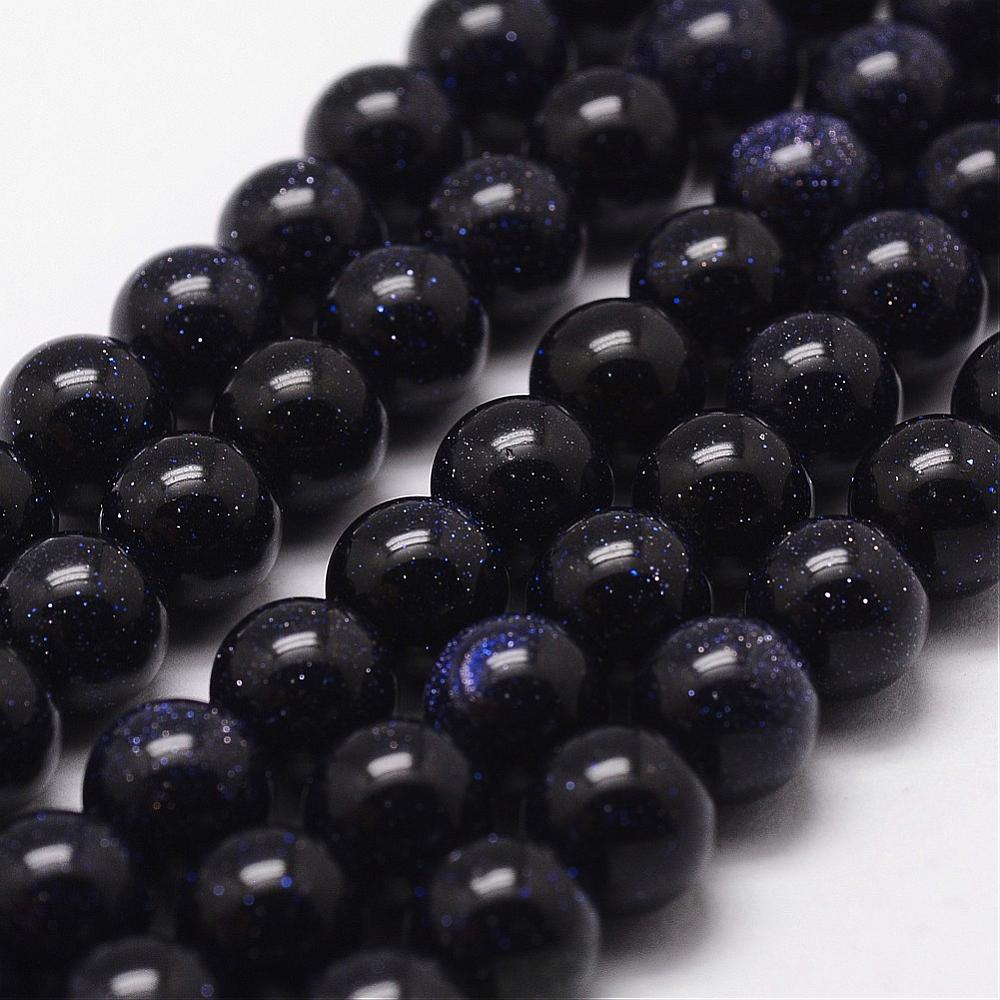Strand 60+ Blue Goldstone Loose Beads 6mm Round