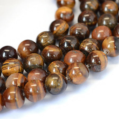 46pcs Natural Gemstone Tiger Eye Stone Beads Round Loose Beads for DIY Jewelry Making Findings 8 mm