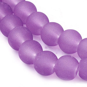 130+ Transparent Frosted Glass Beads, Purple,  6mm Round