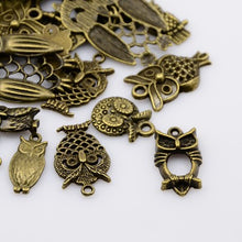 Load image into Gallery viewer, 30g x Tibetan Mixed Antique Bronze Beads Charms Pendants - Antique Bronze Colour OWLS