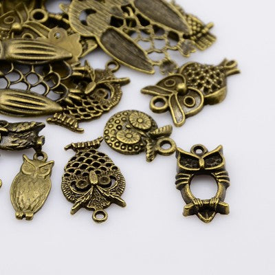 30g x Tibetan Mixed Antique Bronze Beads Charms Pendants - Antique Bronze Colour OWLS