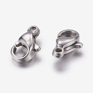 Packet Of 10 x 304 Stainless Steel Strong Lobster Clasps 10mm x 6mm