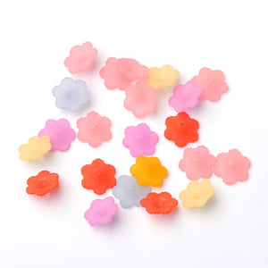 Mixed Lucite 11 x 4.5mm Flower Beads Pack Of 100+