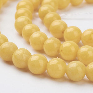 Strand of Yellow Mashan Jade 6mm Plain Round Beads