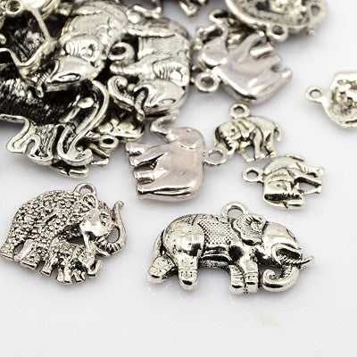 30 Gram Tibetan Antique Silver Random Shapes & Sizes Charms Elephant Pendants