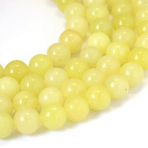 Strand Of 60+ Yellow Lemon Jade 6mm Plain Round Beads