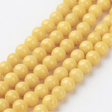 Load image into Gallery viewer, Strand of Yellow Mashan Jade 6mm Plain Round Beads