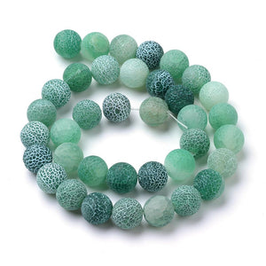 Strand Of 62+ Green Frosted Cracked Agate 6mm Plain Round Beads