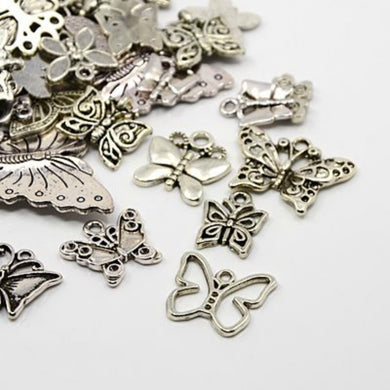 30g x Tibetan Silver Mixed Charms Pendants - Antique Silver BUTTERFLIES