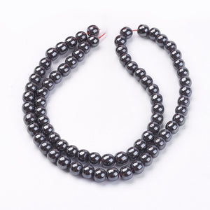 Strand Of 45+ Grey Hematite (Non Magnetic) 8mm Plain Round Beads