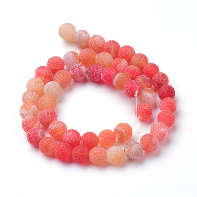 Strand Of 62+ Orange Frosted Cracked Agate 6mm Plain Round Beads