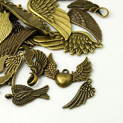 Pack 30 Grams Antique Bronze Tibetan Random Shapes & Sizes Charms (WING)