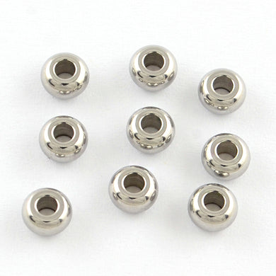 Packet 20 x Silver 201 Stainless Steel 3 x 5mm Rondelle Spacer Beads