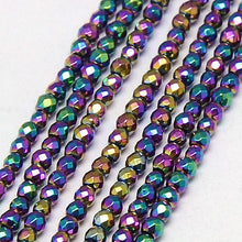 Load image into Gallery viewer, Grade A Rainbow Hematite (Non Magnetic) 4mm Faceted Beads