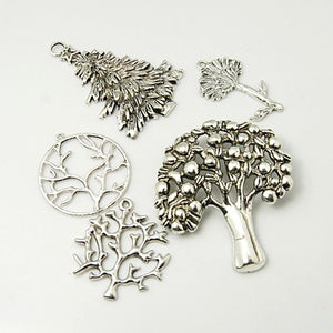 Pack 30 Grams Antique Silver Tibetan Random Shapes & Sizes Charms (TREE)