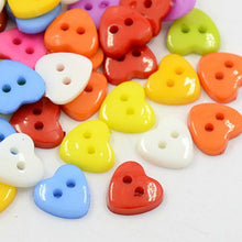 Load image into Gallery viewer, Pack of 50+ Mixed Acrylic 12mm Heart Buttons (2 Hole)
