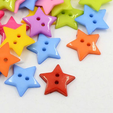 Pack of 50+ Mixed Acrylic 19mm Star Buttons (2 Hole)
