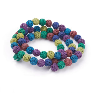 Mixed-Colour Lava Rock Beads Plain Round 8mm Dyed Strand of 40+