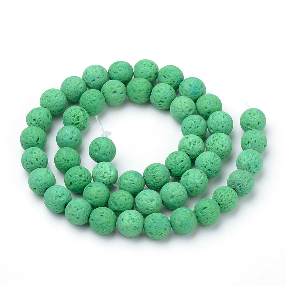 Natural Light Green Lava Beads Loose Beads Round 6mm