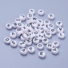Load image into Gallery viewer, Pack of 100 Acrylic White Letter Beads – Mixed – 7mm