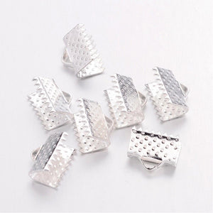 Pack Of 50+ Silver Plated Iron 7 x 10mm Ribbon Ends/Clamps