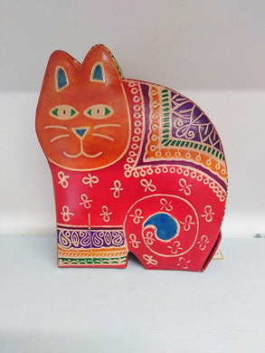 Leather Money Box - Cat