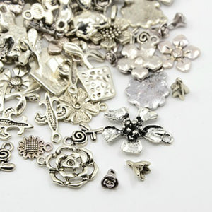 30 Grams Antique Silver Tibetan Random Shapes & Sizes Charms (FLOWER)