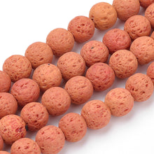 Load image into Gallery viewer, Natural Coral Lava Beads Loose Beads Round 6mm