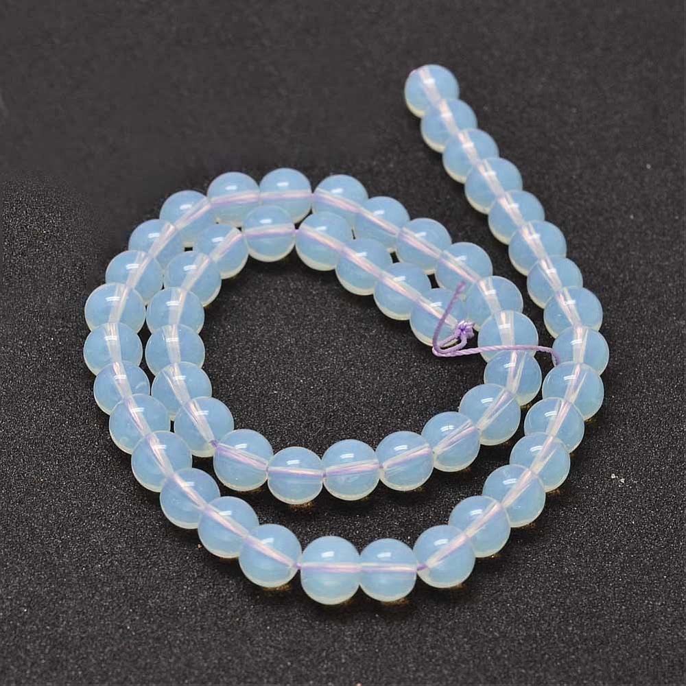 Opalite Glass Loose Beads 4mm Round