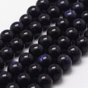 Strand 45+ Blue Goldstone Loose Beads 8mm Round