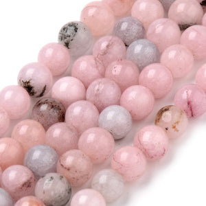 Strand of 40+ Natural Cherry Blossom Jasper Round Beads