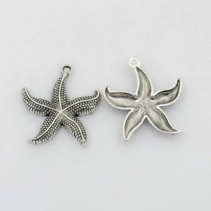 Pack of 10 Tibetan Style 26mm Starfish Charms Antique Silver