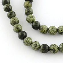 "Load image into Gallery viewer, 15"" Strand Green Lace Stone 6mm Round Gemstone Beads"