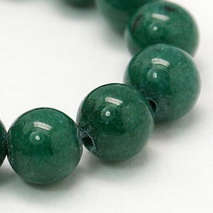 Strand of Green Mashan Jade 6mm Plain Round Beads